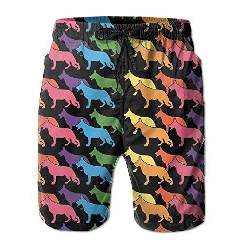 tyui7 Costume da Bagno Estivo da Uomo Pastore Tedesco Costume da Bagno da Spiaggia, Pantaloncini da Corsa da Running, Asciugatura Rapida Swim Trunks,Taglia XL