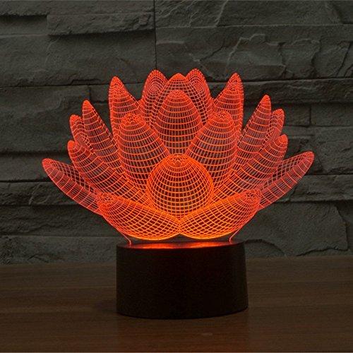 Lampe 3D ILLUSION Lichter der Nacht, kingcoo 7Farben LED Acryl Licht 3D Creative Berührungsschalter Stereo Visual Atmosphäre Schreibtischlampe Tisch-, Geschenk für Weihnachten, Kunststoff, Lotus 0.50 wattsW - 5