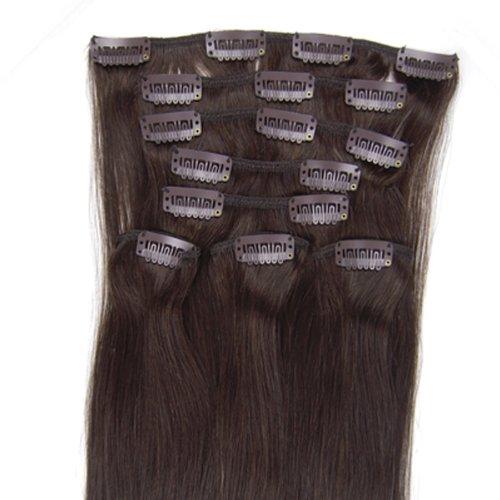 Meiya 50,8 cm Marron foncé (# 2) 8 Clip dans Remy Extension de cheveux humains Poids : 100 g