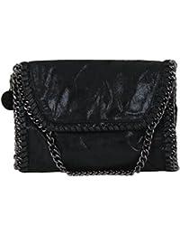 Handtasche VIVIEN Lederlook Damen Kette Tragetasche Schultertaschen Kette (schwarz 06)