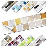 Wandora 1 Stück Fliesenaufkleber 25,3 x 5,0 cm Kupfer Gold Silber Design 8 I 3D Mosaik Fliesenfolie Küche Bad Aufkleber W1536
