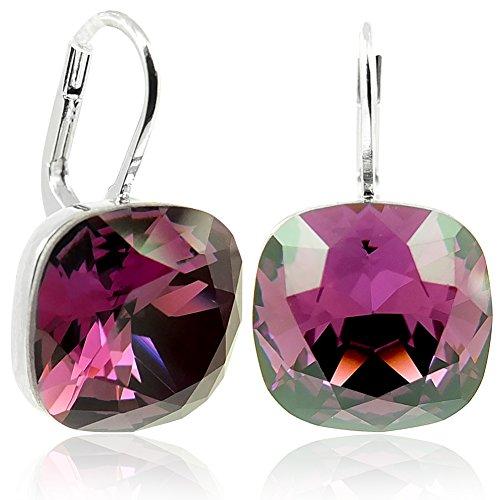 Ohrringe Rot mit Kristallen von Swarovski® Silber Violett NOBEL SCHMUCK