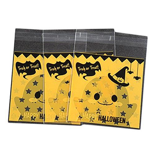 Cosanter Selbstklebender Druckverschlussbeutel Verpackungsbeutel Biskuitbeutel Backtaschen Süßigkeiten Taschen Seifenbeutel mit Halloween Kürbis Muster 100 Stück (Halloween Taschen Muster)
