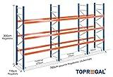 Palettenregal Industrieregal 7,6m breit, 3m hoch, 110cm tief, 3 Ebenen - Hochregal Schwerlastregal