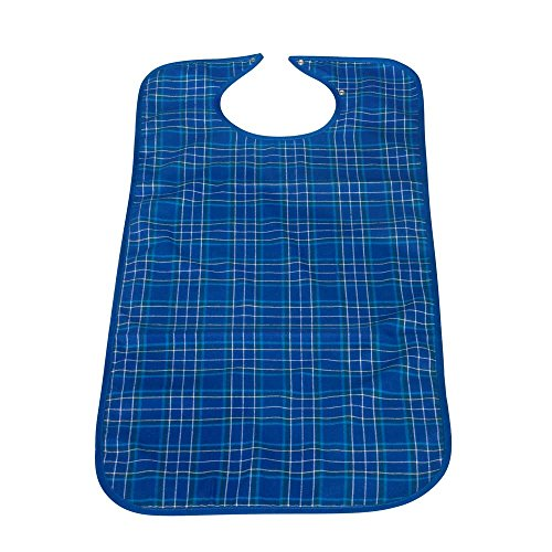 Behrend PVC-Lätzchen Esslätzchen Ess-Schürze Klettverschluss, 45x90cm, blau kariert