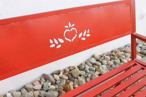 DanDiBo Bank Passion Gartenbank Rot 2 Sitzer 121496 Sitzbank 120 cm Metall Eisen Blumenbank Garten - 3