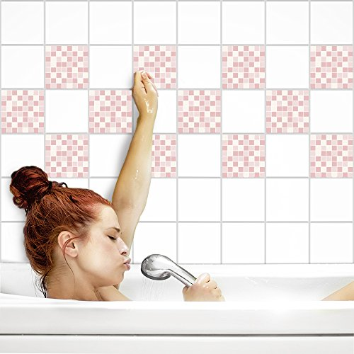 Fliesenaufkleber für Küche und Bad | Fliesenfolie für 15x15cm Fliesen | Mosaik Rosé glänzend | 24 Stück | Klebefliesen günstig in 1A Qualität von PrintYourHome (Rosen-mosaik-fliesen)