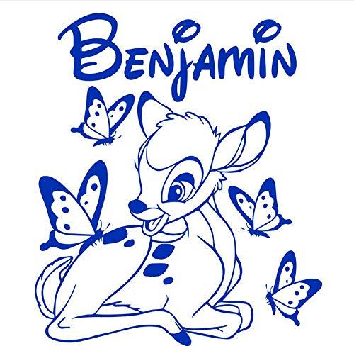 Diy Bambi Und Schmetterling Vinyl Wandtattoos, Kunst Pegatina Adesivo De Parede Kinderzimmer 60 * 50 Cm