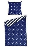 Schiesser Renforcé Bettwäsche Sterne blau / 135 x 200 cm + 80 x 80 cm / 2-teilig / 100% Baumwolle