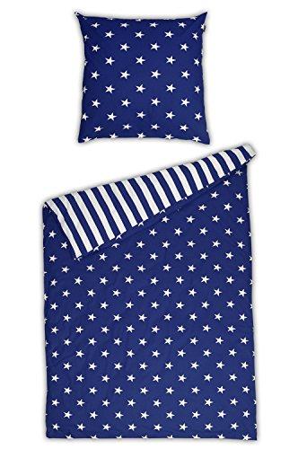 Schiesser Renforcé Bettwäsche Sterne blau / 2-teilig / 100% Baumwolle