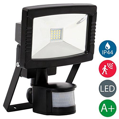 B.K.Licht LED Außenstrahler 8,5 W mit Bewegungsmelder schwarz IP44 Außenwandstrahler wasserdichter Außenstrahler Flutlichtstrahler Sensor Wand Licht