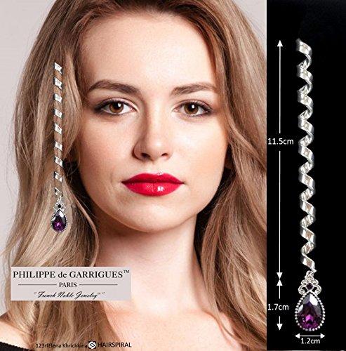 Accessoires médiéval de cheveux - Spirales pour cheveux haut de gamme. LONGUE SPIRALE argentée ornée de strass SWAROVSKI violet.