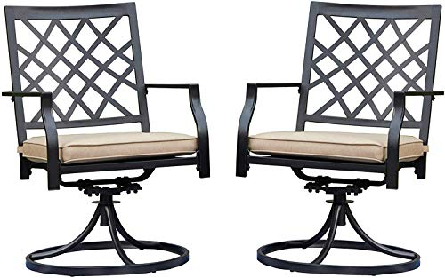 LOKATSE HOME Patio Swivel Rocker Furniture Metal Outdoor Dining Chairs with Cushion Set of 2, 2 White -