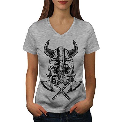 wellcoda Krieger Tot AXT Schädel Frau L V-Ausschnitt T-Shirt