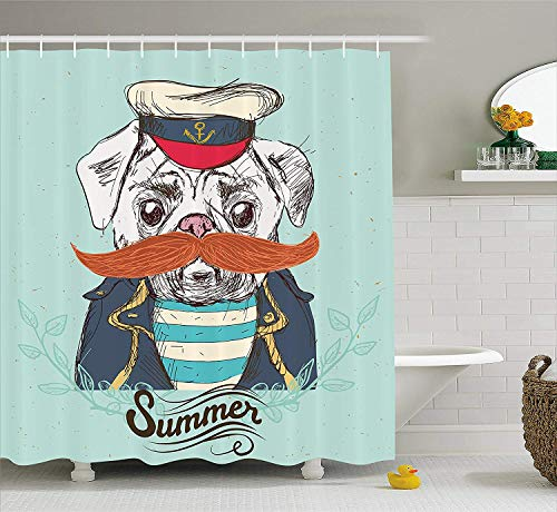 r Curtain by, Captain Dog with Hat Mustache Jacket and Shirt Cute Animal Funny Image, Fabric Bathroom Decor Set with Hooks, 70 Inches, Navy Blue Pale Blue Orange ()