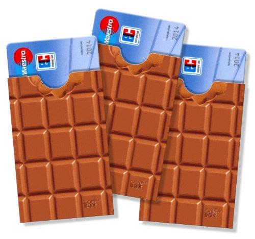 cardbox Schokolade - 3 Stück!!! - Schutzhüllen für ec-Karten, Kreditkarten, Versichertenkarten, Kundenkarten, Visitenkarten oder als Geldgeschenk-Verpackung