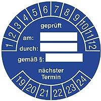 Labelident Prüfplaketten - geprüft am - durch - gemäß § - nächster Termin, Mehrjahresprüfplakette, Zeitraum 2019-2024, Ø 30 mm, 144 Stück, Vinylfolie blau, Aufdruck weiß