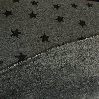 Étoiles Gris clair–Sweat-shirt en polaire stretch/tissu–doublés Hem08Vêtements pour enfants–Couture et tissu–0.5metre de 50cm x