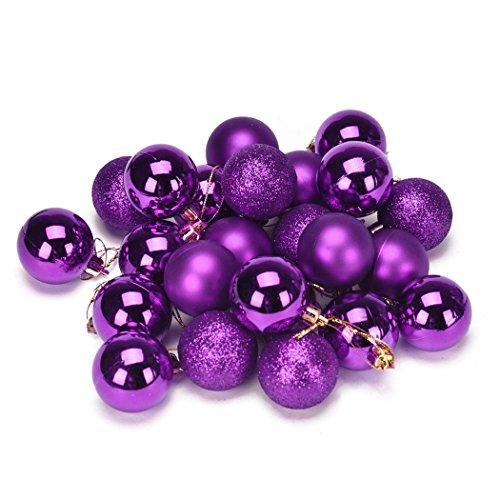Xmas Ball, Noël 4 Arbre Boule Décoration cm 24PC Noël en plastique! (Violet)
