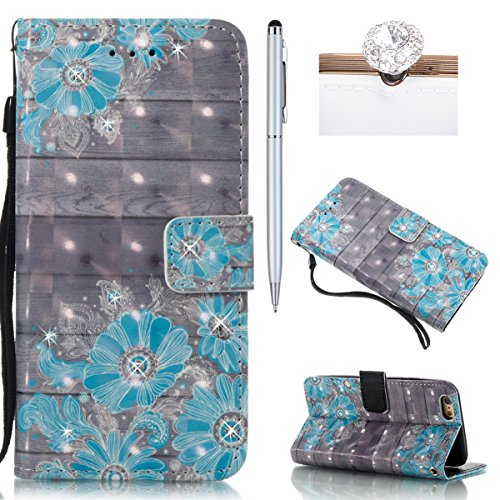 iPhone 6S Plus Hülle,iPhone 6 Plus Case,iPhone 6S Plus Cover - Felfy PU Ledertasche Strap Flip Standfunktion Magnetverschluss Luxe Bookstyle Ledertasche Nette Retro Mode Painted Muster Abdeckung Schut Blau Blume*