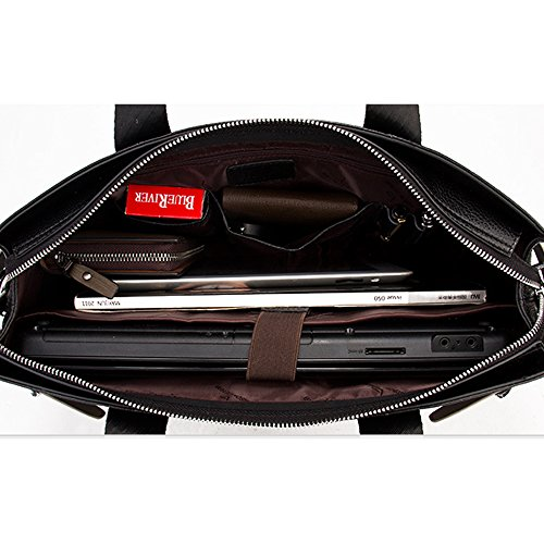BINSON DENIM Herren Leder Aktentasche Herren Handtaschen Herren Umhängetasche Herren Laptop Tasche Hohe Qualität N2273 (Braun) Braun