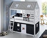 Hochbett Tom´s Hütte 2 Kinderbett Spielbett Bett Weiß Stoffset Pirat