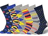 Easton Marlowe - Lot 6 paires - Chaussettes Fantaisie Homme Motif Coton Peigné - 6pk #14, mixed - bright colors, 39-42 EU shoe size