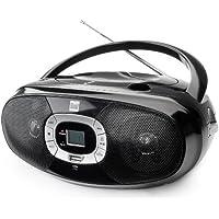 Radio mit CD-Player USB MP3 UKW-Radio Kopfhöreranschluss Boombox Stereo Lautsprecher Netz- / Batteriebetrieb Tragbar Schwarz Dual P 390