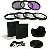 55mm Kit d'accessoires pour Canon EOS 1100D | 550D | 600D - Sony Alpha 100 | 200 | 230 | 290 | 330 | 350 | 380 | 390 | 450 | 500 | 550 | 580 | 700 - Alpha 7 - Sony Alpha SLT-33 | SLT-35 | SLT-37 | SLT-55V | SLT-57 | SLT-58 | SLT-65V | SLT-77V etc… - incl. Filtres (UV, CPL, FLD + Close up Macro +1 +2 +4 +10) + Housse pour filtre + Chiffon de nettoyage en microfibre + Paresoleil d'objectif + Bouchon d'objectif