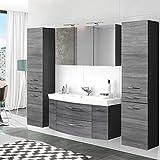 Lomadox Badezimmer Set in Eiche Rauschsilber Nb.● 120cm Waschtisch-Unterschrank mit 2 Auszügen inkl. Waschbecken ● LED-Spiegelschrank mit Steckdose ● 2 Hochschränke mit 2 Türen & Schubkasten