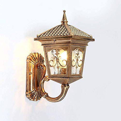 TQ Modeen Antique Classic Outdoor 1-Lichter Glas Laterne Wand Lampe Outdoor Doppel-Scheinwerfer Tradition Continental Victorian Patio Garden Villa Balkon E27 Dekoration Wand Sconce Light,Yellow -