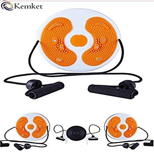 Kemket Magnetischer Taillen-Twister, Fitnessscheibe, Massage, rund, mit Handseilen und ohne Seile, Fuß-Massagegerät, Stepper, Wackel-Teller, damen Herren, Orange