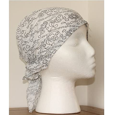 White Easy to Tie Bandana Style Headscarf with Black Paisley pattern