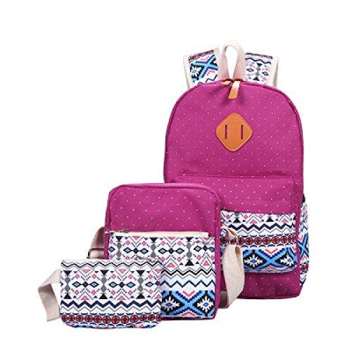 MYLL Sacchetto Di Spalla Dello Zaino Della Tela Di Canapa Delle Donne 3 Misura Le Borse Delle Signore Daypacks Work Bag O Il Sacchetto Di Viaggio Casuale,Red Purple