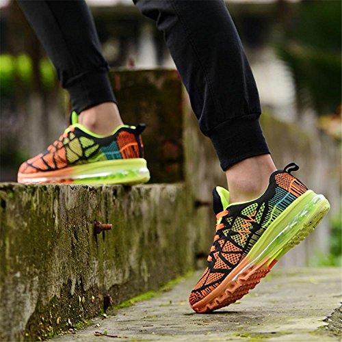 T-Gold Herren Damen Sneaker Laufschuhe Bequeme Atmungsaktiv Air Turnschuhe Fitness Sportschuhe Schwarz Orange