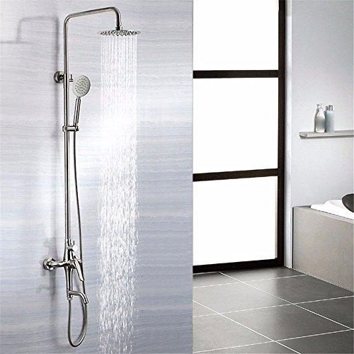 Hlluya Wasserhahn für Waschbecken Küche Liefert 304 Edelstahl Dusche Badewanne Dusche Wasserhahn Bad Dusche Booster Top Ausleger anheben Dusche mit abnehmbarem Duschkopf Edelstahl -