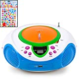Lenco Kinder Stereo Musik Anlage Radio Toplader CD/MP3-Player Aux USB Kids inkl. Sternchen Sticker