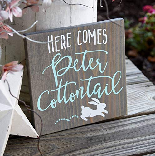 C-US-lmf379581 Here Comes Peter Cottontail Wood Sign I Easter I Easter Sign I Easter Decor I Bunny Sign I Wood Signs I Home and Living I ()