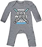ShirtStreet Geschenk zur Geburt Baby Strampler Langarm Schlafanzug Jungen Mädchen Junge - Das Wars jetzt hab ich die Macht, Größe: 6-12 Monate,Heather Grey Melange