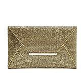 Fatalom Moda Donna Paillettes Busta Bag (Oro)