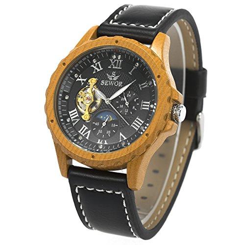 Herren Armbanduhr - Mond Sonne Phase ManChDa Holzmaserung Fall Automatisch Mechanisch Uhr für Männer Schwarz Leder Band + Geschenkbox