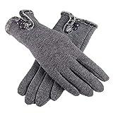 xinxun Damen Winterhandschuhe, Warm Handschuhe für Fahren Skifahren Laufen Radfahren Wandern (grau)