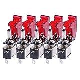 vanpower 5x 12V 20A LED-Licht Bezug rot Rennwagen SPST Rocker/Wechselschalter
