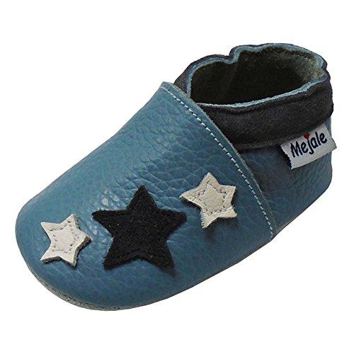Mejale Chaussons Enfant Bébé en Cuir Doux-Chaussons Cuir Souple-Chaussures Premiers Pas-0 to 36 Mois (24-36 Mois/6.2 Pouce, Bleu Ciel)