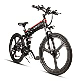 Samebike Folding Mountain Bike for Adult 48V 10AH Electric Mountain Bicycle and 21