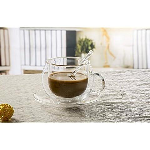 beibeilove universo a doppia parete tè e caffè espresso tazza di vetro con piattino e cucchiaino Two Set Crystal