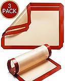 ODSPTER Backmatten Silikon, Silikonmatte Backunterlage Antihaftbeschichtet, BPA-frei, Haltbare Dauerbackfolie - Backfolie - Silikonmatte groß (30 x 42 cm) - Silikonmatte Klein(30 x 21 cm) (3 Pack)