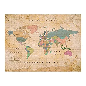 Miss Wood Woody Old School XL Mapa, Corcho, Multicolor, 90x60x0.4 cm