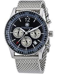 Constantin Durmont Herren-Armbanduhr XL Air Commander Chronograph Quarz Edelstahl CD-AIRC-QZ-STM2-STST-BK
