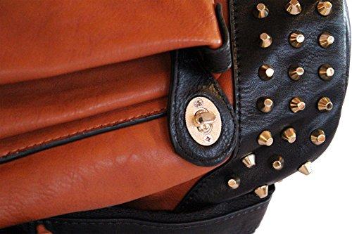 Kukubird Ladies Designer Zaino Grande trapesium in finta pelle con perno in metallo colore oro SKY BLUE